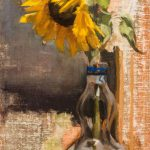 Sunflower In Grappa Bottle. 16 x 8 inches, oil canvas panel, 2018. By Paul Hermann.
