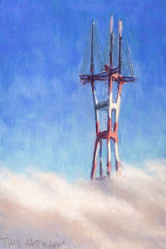Sutro Tower In Clouds. 6 x 4 inches, oil on wood, 2018. By Paul Hermann.