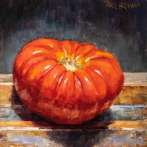 Tomato On the Easel. 6 x 6 inches, oil on wood, 2018. By Paul Hermann.