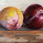 Plums On the Easel. 4x6 inches, oil on wood, 2018. By Paul Hermann.