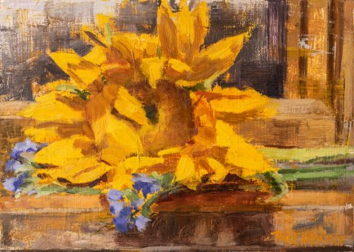 Sunflower On the Easel. Oil on wood, 5x7 inches, 2018. By Paul Hermann.