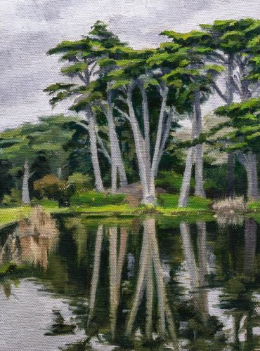 Metson Lake Golden Gate Park. 8 x 6 inches, oil on linen panel, 2018. By Paul Hermann.