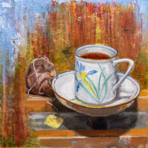 Tea On the Easel. 8 x 8 inches, oil on linen panel, 2019. By Paul Hermann.