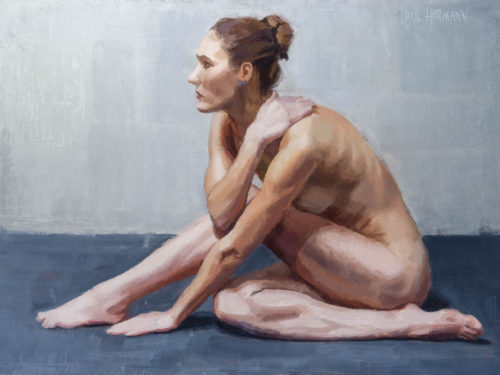 Triangulated Body 2. 9 x 12 inches, oil on canvas panel, 2020. By Paul Hermann.