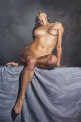 Violet In Grey. Oil on canvas, 30 x 20 inches, 2020. By Paul Hermann.