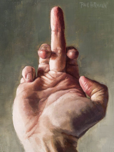 Middle Finger. 8 x 6 inches, oil on canvas panel, 2020. By Paul Hermann.
