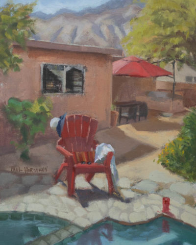 Pool Side Palm Springs. 10 x 8 inches, oil on canvas panel, 2020. By Paul Hermann.